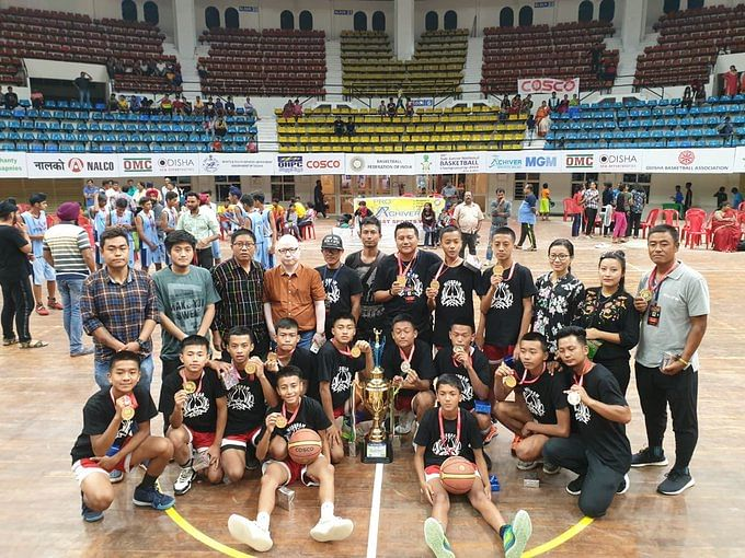 The victorious Mizoram team at the 46th National Sub-Junior Basketball Championship held in Odisha recently