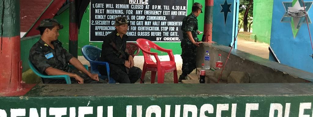 NSCN-IM members at the check gate of Camp Hebron in Dimapur, Nagaland