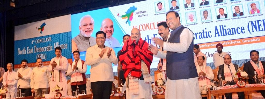 Union home minister and BJP president Amit Shah being felicitated during the 4th conclave of the North East Democratic Alliance (NEDA) in Guwahati, Assam on Monday