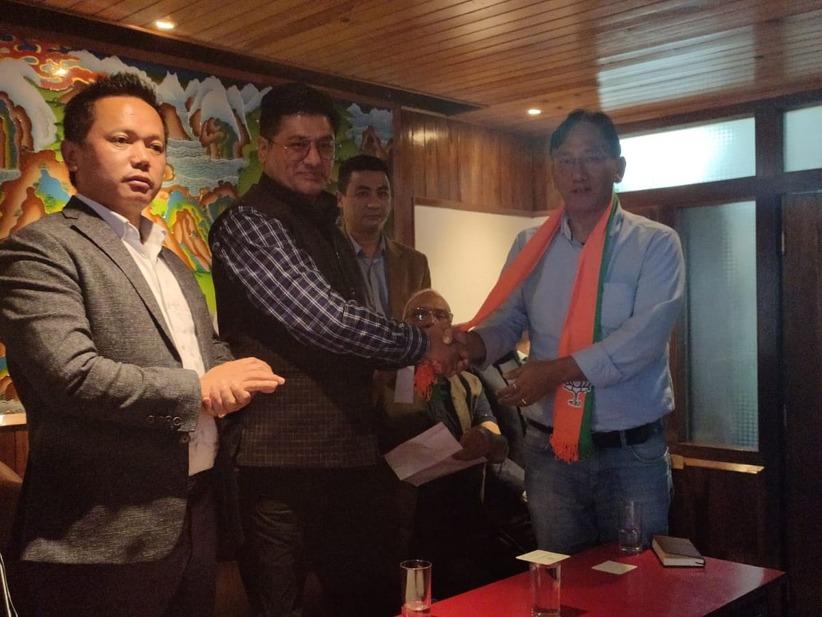 SKM's Sonam Venchungpa, candidate for Rumtek-Martam constituency, officially joined the BJP on Saturday
