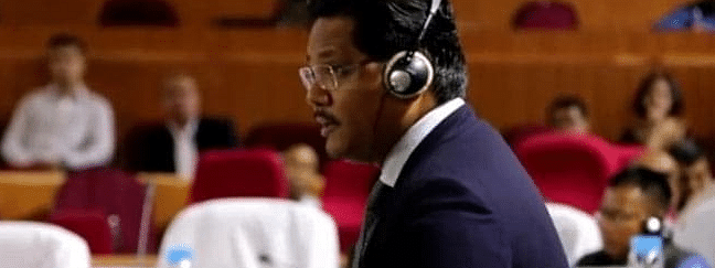 Meghalaya chief minister Conrad K Sangma participating in a debate during the ongoing autumn session of the state legislative assembly