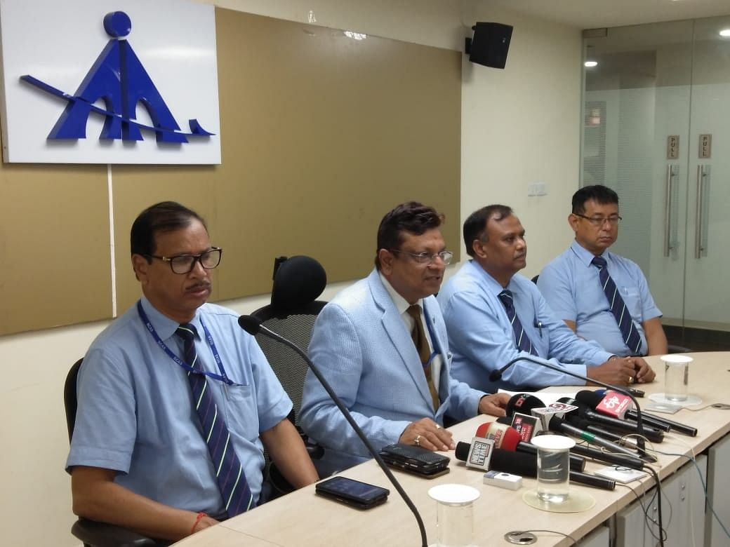 Sanjeev Jindal, regional executive director, AAI NER-Guwahati (second from left), addressing the media