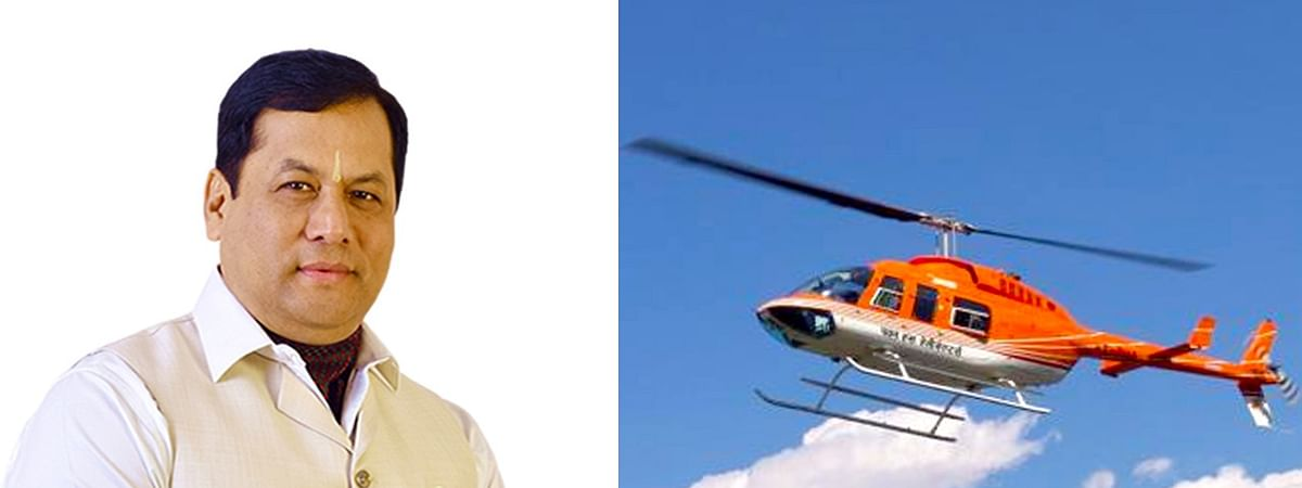 The Pawan Hans helicopter ferrying Assam chief minister Sarbananda Sonowal (left) had to make an emergency landing at Lilabari Airport in Assam's Lakhimpur district on Monday