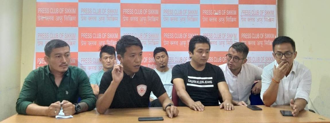 Members of Sikkim Aakraman FC during a press conference