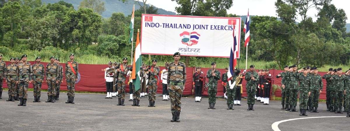 The contingent of both India and Thailand at the inaugural function of the military exercise at the Foreign Training Node in Umroi, Meghalaya