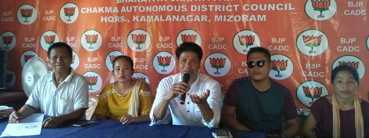 BJP members addressing media persons in Aizawl on Thursday