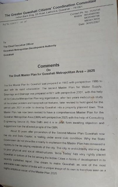 Copy of letter submitted to the GMC by the Greater Guwahati Citizens' Coordination Committee