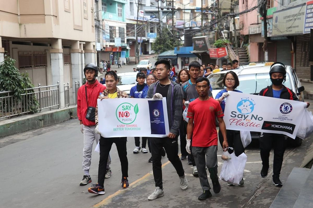 MCSC fans during the 'No Plastic Rally' in Aizawl