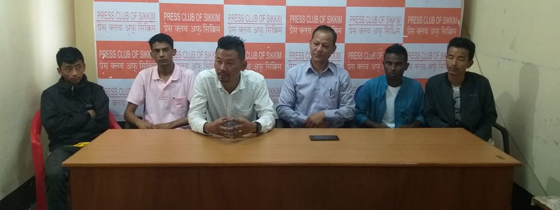 Officials of Sikkim Mountaineering Association and Sikkim Sports Climbing Association at a press conference in Gangtok on Tuesday