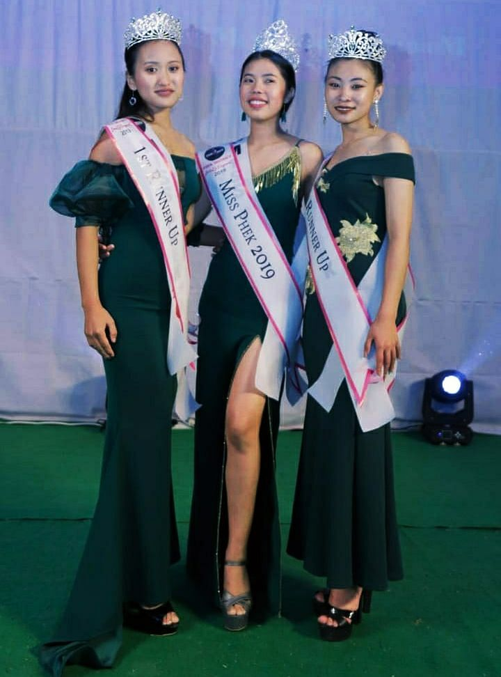 Miss Phek 2019 Shefüvi Pfithu (centre) along with first runner up Münulu Chizo (left) and second runner up Rangalü Keyho after the crowning ceremony of Miss Phek 2019 held recently