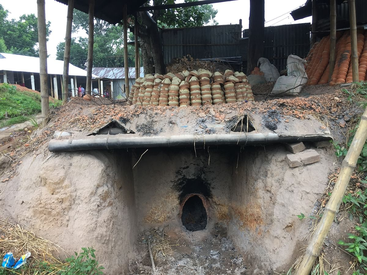Clay ovens used by villagers to burn 'diyas' and other items