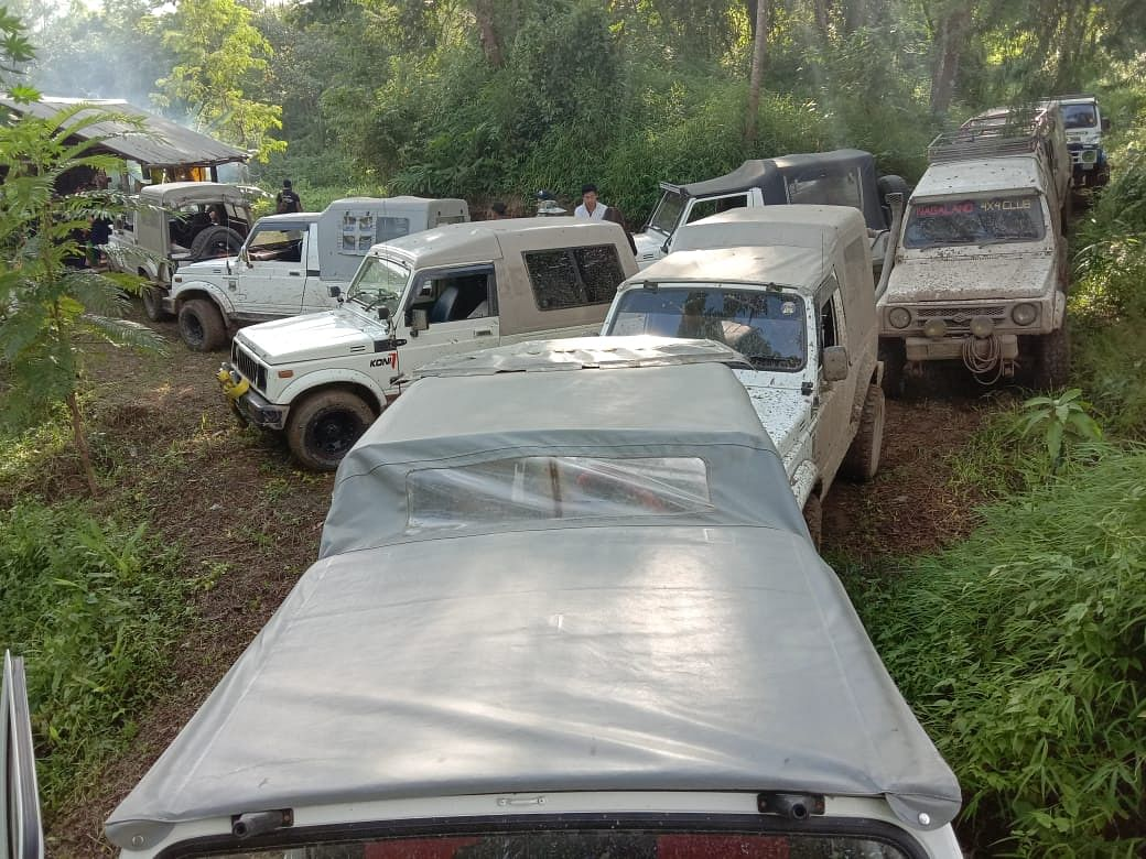 A section of the cars belonging to members of the adventure clubs seen parked near the Peducha-Tsiesema route