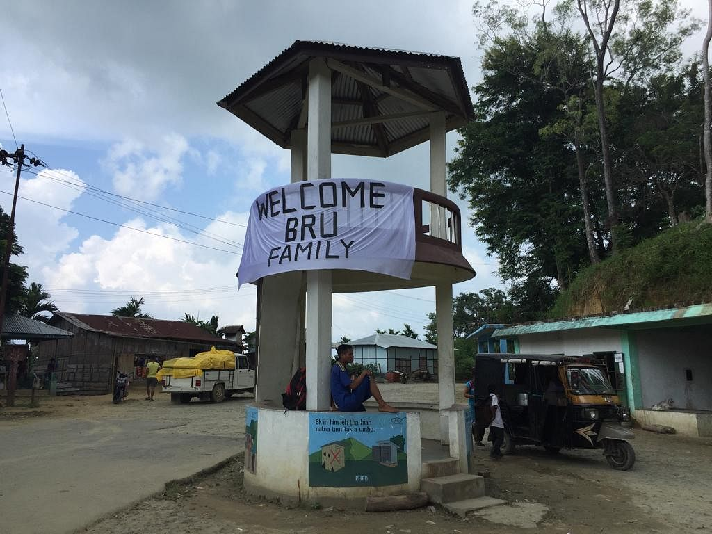 Banners welcoming Bru families in Mamit district of Mizoram during the ninth and final phase of repatriation from Tripura late last year