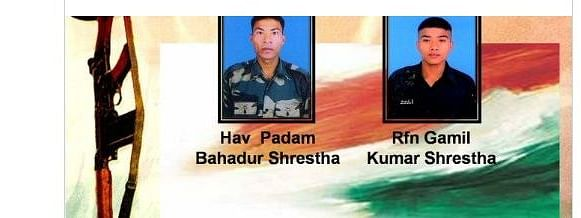 Indian Army paid tributes to martyrs Hav Padam Bahadur Shrestha and Rifleman Gamil Kumar Shrestha who lost their lives along the Line of Control on Saturday night