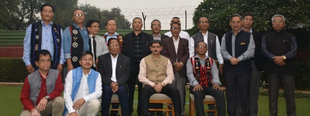 Naga leaders with chief interlocutor RN Ravi in New Delhi on Thursday