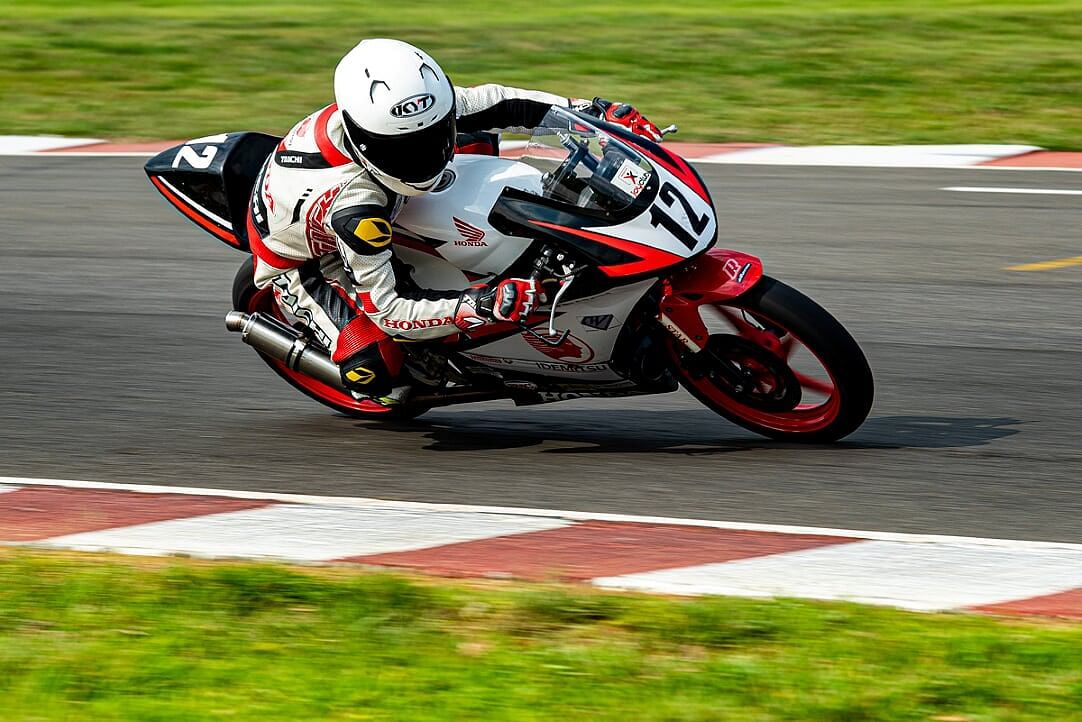 Lalnunsanga riding his CBR-150R at the Madras Motor Race Track in Chennai