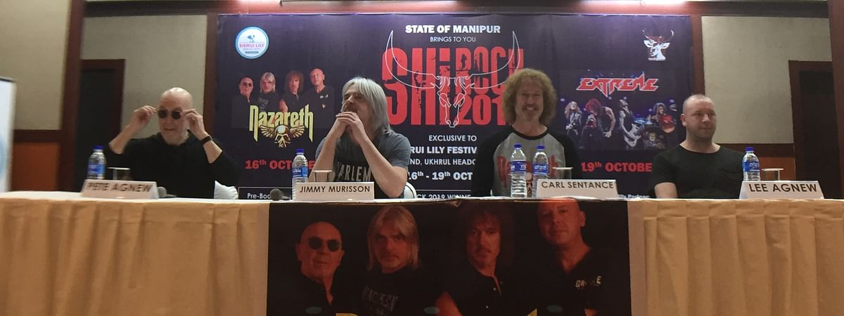 Scottish band Nazareth arrived in Manipur capital Imphal on Tuesday to perform at Shirock 2019 in Ukhrul on Wednesday