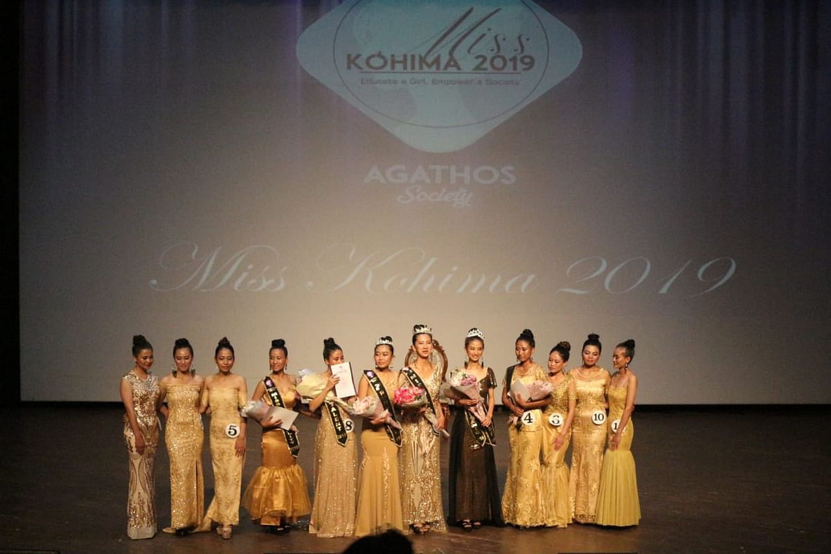 Participants of the annual Miss Kohima beauty pageant held at RCEMPA Jotsoma in Kohima recently