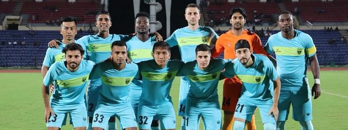 Team photo of NorthEast United Football Club that was taken before the friendly match with country's national football team on Wednesday