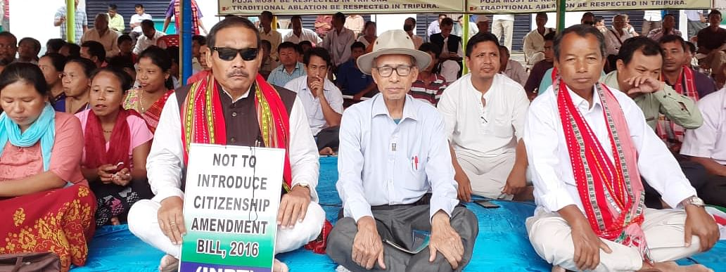 Leaders of INPT at a sit-in demonstration in Khumulwng, the headquarters of TTAADC in Tripura on Thursday