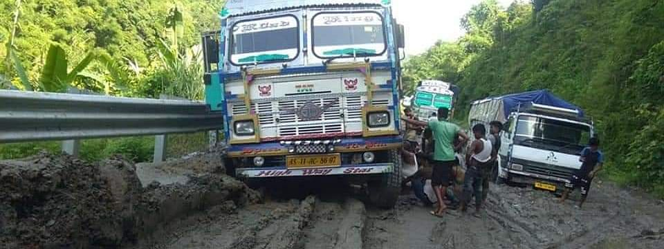 In most stretches, it is impossible for many trucks to ply through the National Highway 54