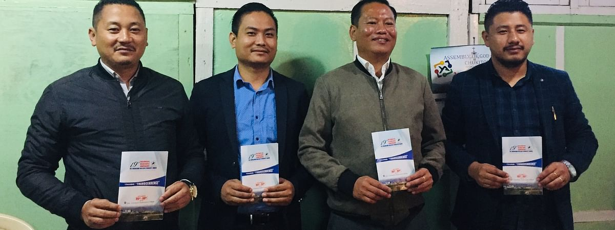 (From left) Co-convenor Kesosul Christopher Ltu, ANCSU president Katho P Awomi, convenor Ahito Achumi & ANCSU vice-president Benjong Lonchar after addressing the press conference at NSF conference hall in Kohima on Friday
