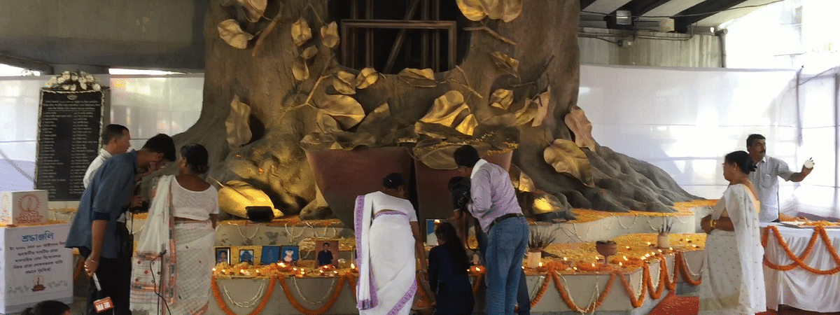 Families of the 2008 Assam bombing victims light earthen lamps in their memory in Guwahati on Wednesday