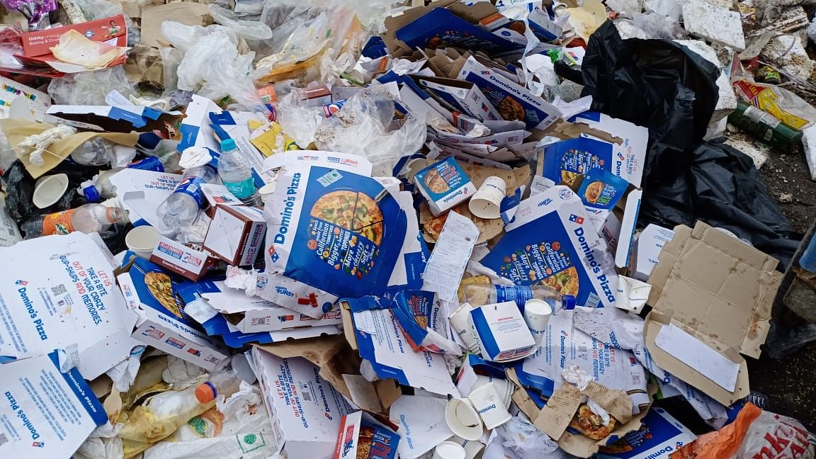 Domino's Pizza boxes and other items dumped after the garbage disposal time frame