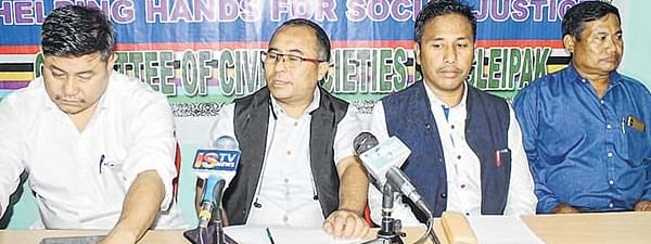 Members of Coordinating Committee on Manipur Integrity (COCOMI) addressing media persons on Monday