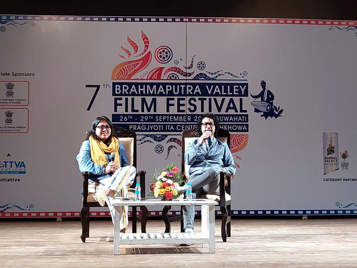 Nicholas Kharkongor  in an engaging discussion with Meena Longjam during the 7th Brahmaputra Valley Film Festival 2019
