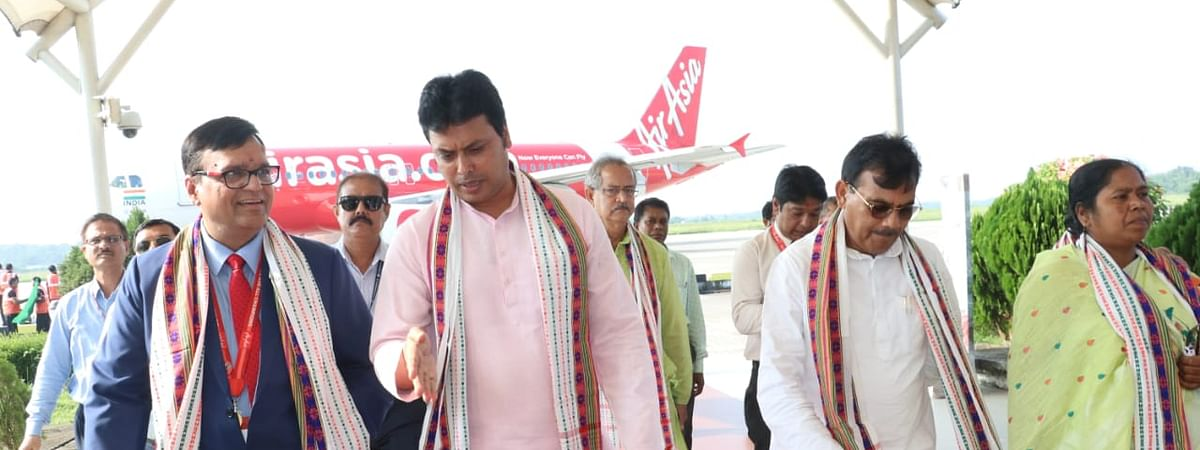 Tripura chief minister Biplab Kumar Deb after flagging off the inaugural AirAsia flight service from Agartala on Sunday
