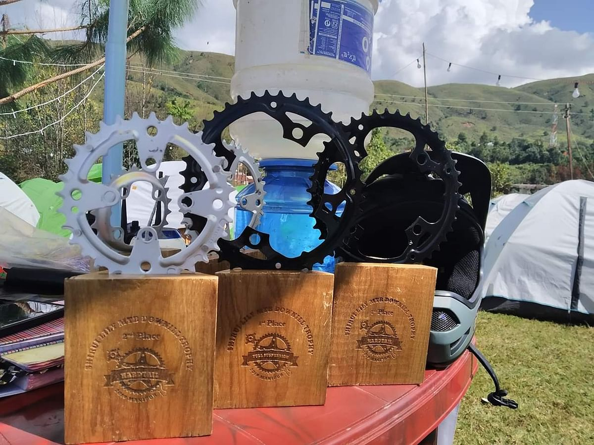 Shirui Lily MTB Downhill trophies on display at the venue in Manipur's Ukhrul district