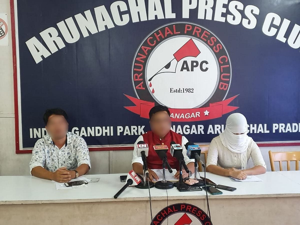 The rape victim with her husband (middle) and brother (left) addressing the media in Itanagar, Arunachal Pradesh on Thursday