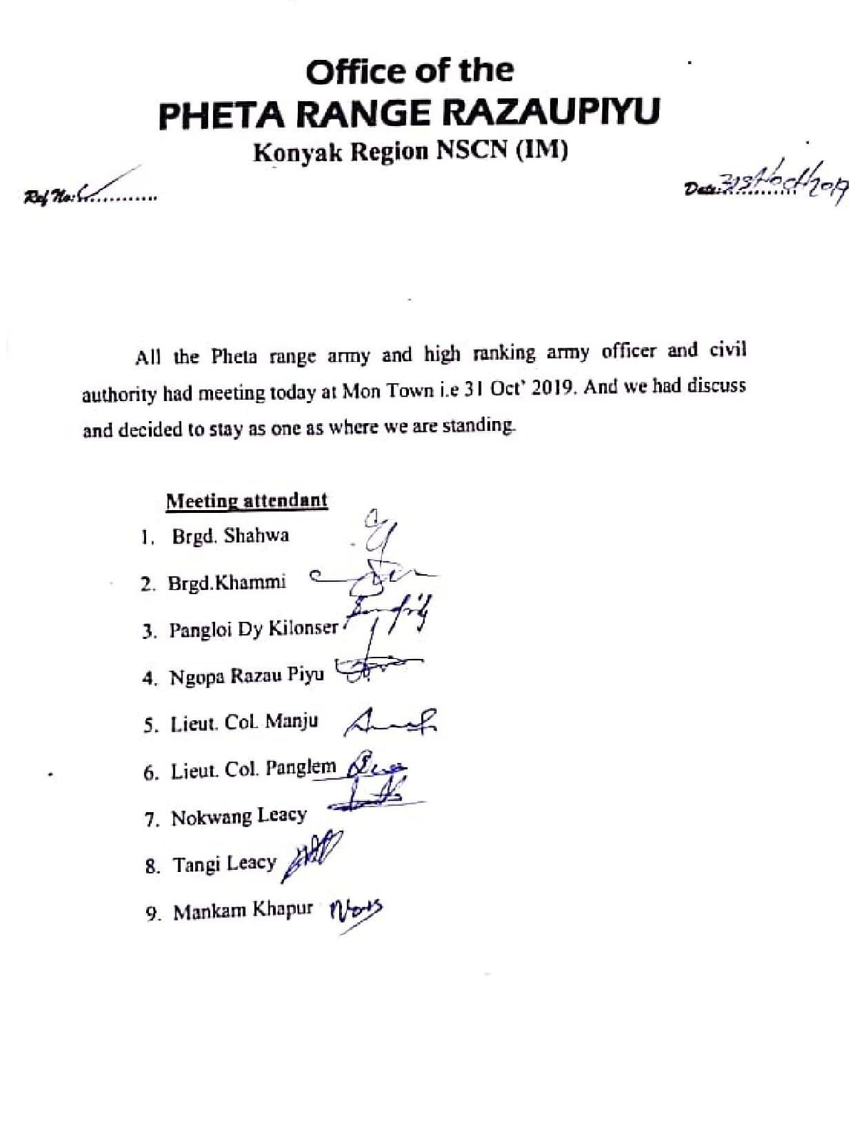 A statement released by the Pheta Range Razaupiyu Konyak Region of NSCN-IM on Thursday