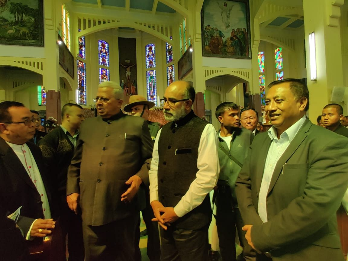 Governor Tathagata Roy accompanied by former minister of tourism Alphons Kannanthanam and minister AL Hek
