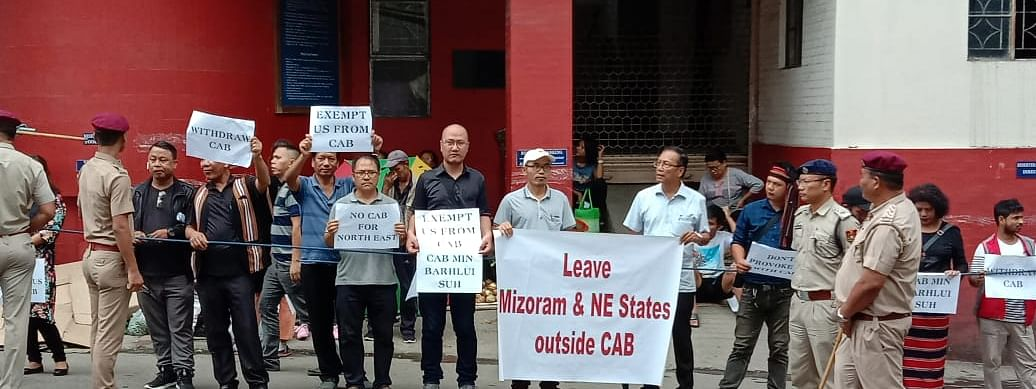 Members of MPC and PRISM opposing against the Citizenship (Amendment) Bill during Union home minister Amit Shah's visit to Mizoram on Saturday