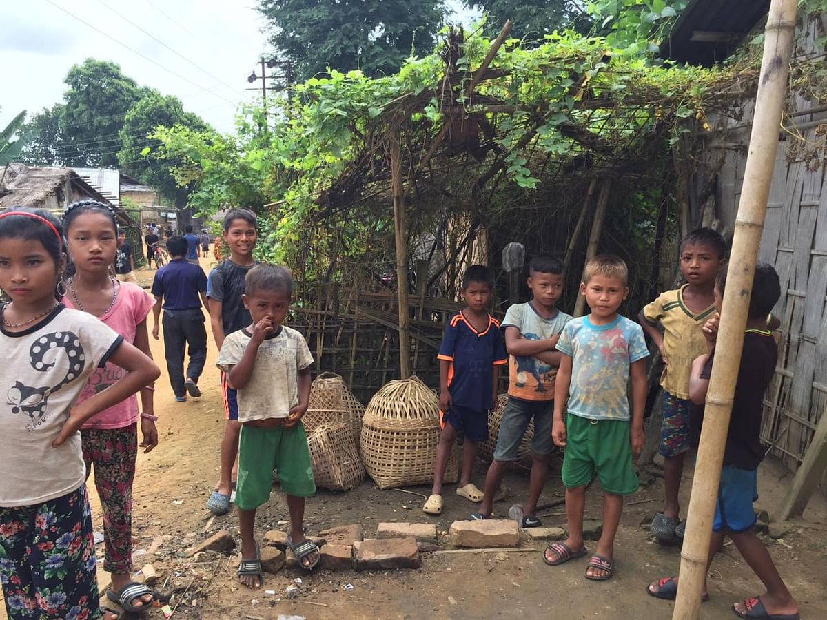 Children at a relief camp in Damcherra area of North Tripura district
