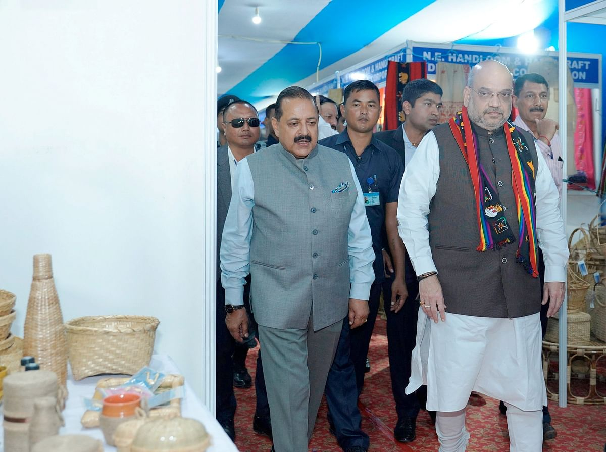 Union home minister Amit Shah inspecting some stalls after inaugurating the North East Handloom and Handicraft Exhibition in Aizawl on Saturday