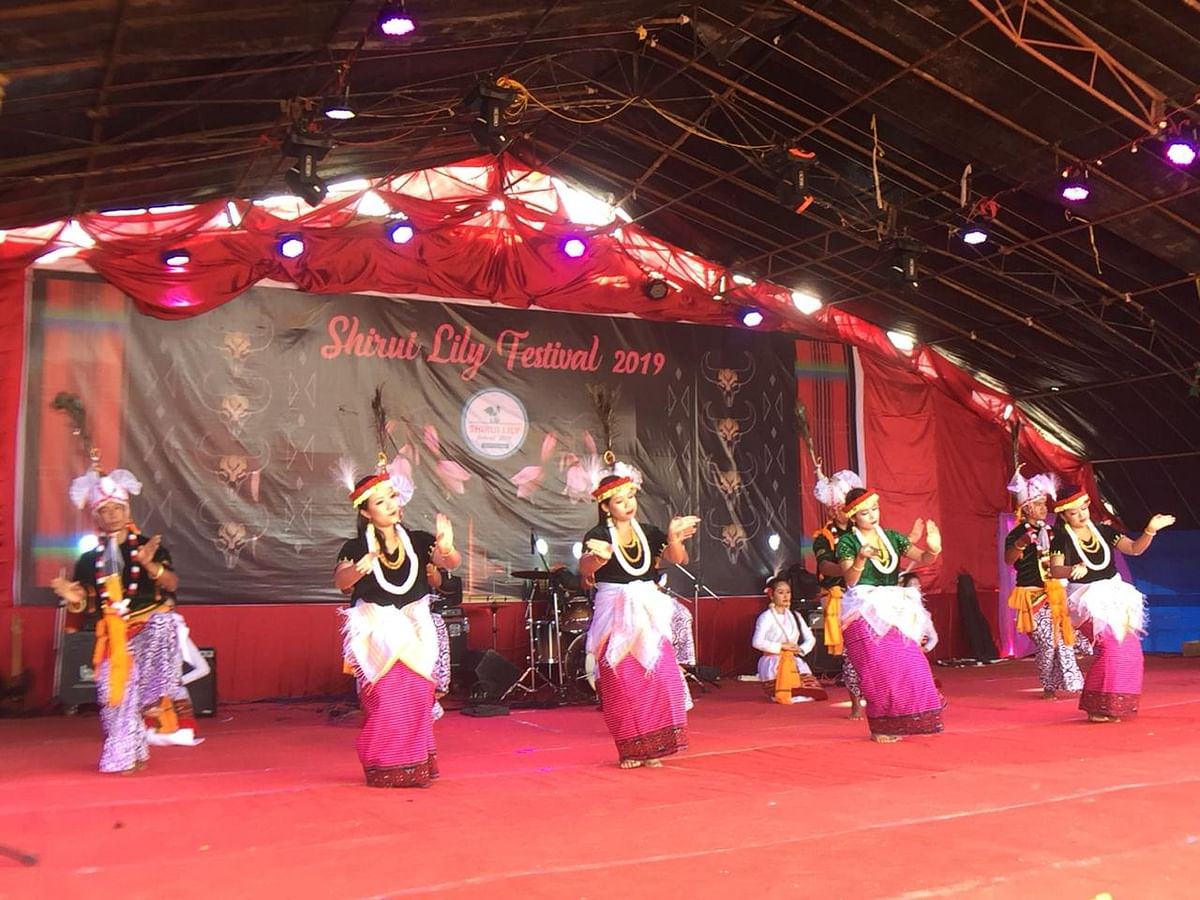 A dance troupe in action during the closing ceremony of the Shirui Lily Festival in Manipur's Ukhrul district on Saturday