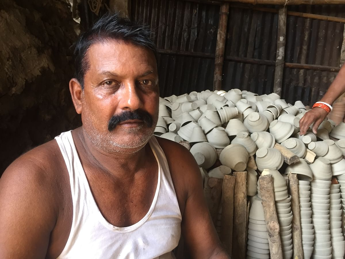 Srikant Prasad, proprietor of Maa Laxmi Mitti Bartan Bhandar in Amingaon near Guwahati, Assam