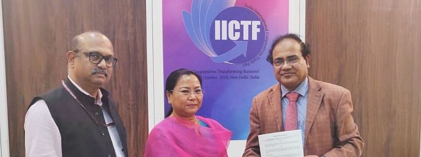 Manipur minister Nemcha Kipgen (middle) and Bangladesh secretary Md Gyas Uddin Ahmed (right) signing an agreement in New Delhi on Sunday