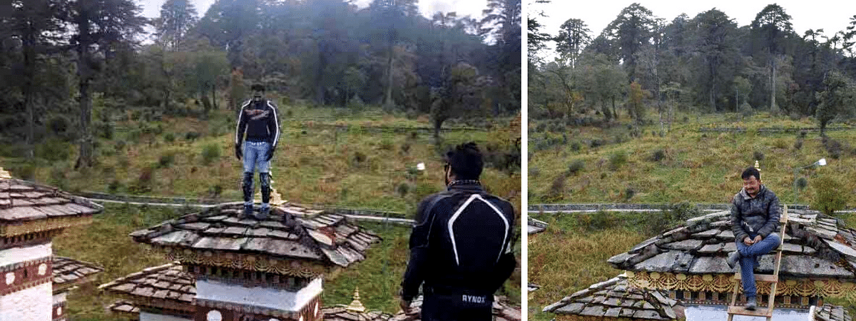 The Royal Bhutan Police has ceased the passport of the Indian tourist (left) and called him for questioning; the local carpenter (right) who helped him climb the chorten
