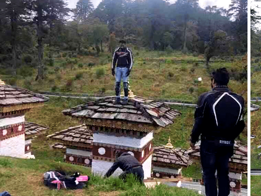 Outrage over Indian tourist standing atop sacred Chorten in Bhutan