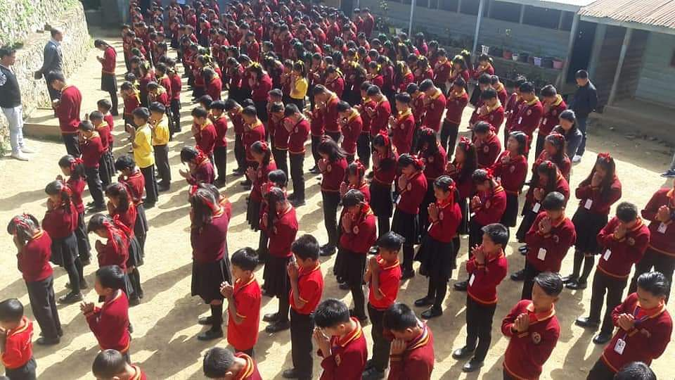 A mass silent prayer being held in Higher Themzan Academy, Ukhrul for peaceful Naga solution