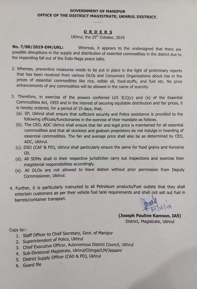 The order issued by Ukhrul DM Joseph Pauline Kamson on Friday