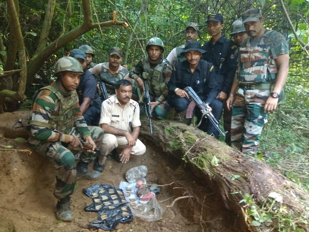 The ammunition and explosives were found hidden along Sukanteklai river in Chirang district of Assam