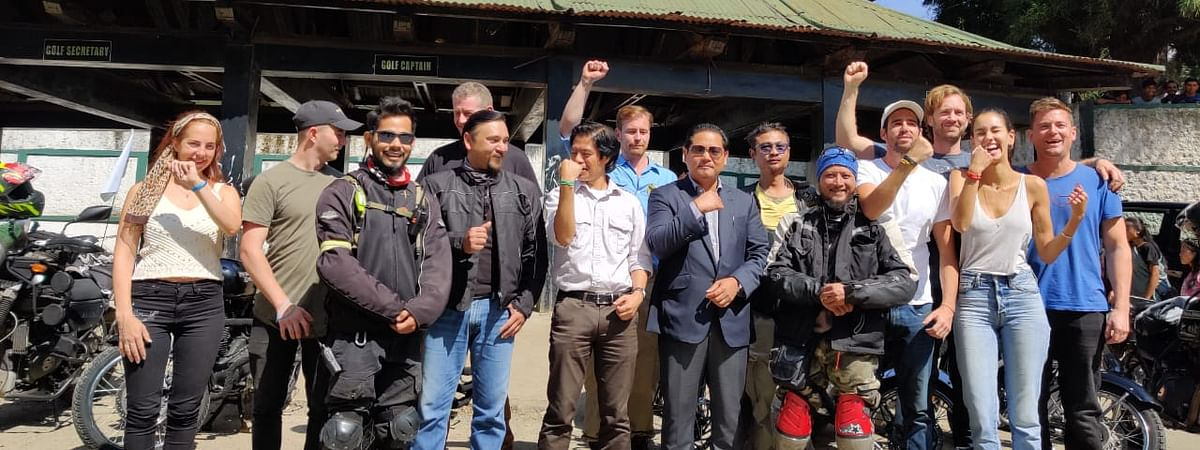 Meghalaya CM Conrad K Sangma with the participants of Ride East during flag-off in Shillong on Tuesday