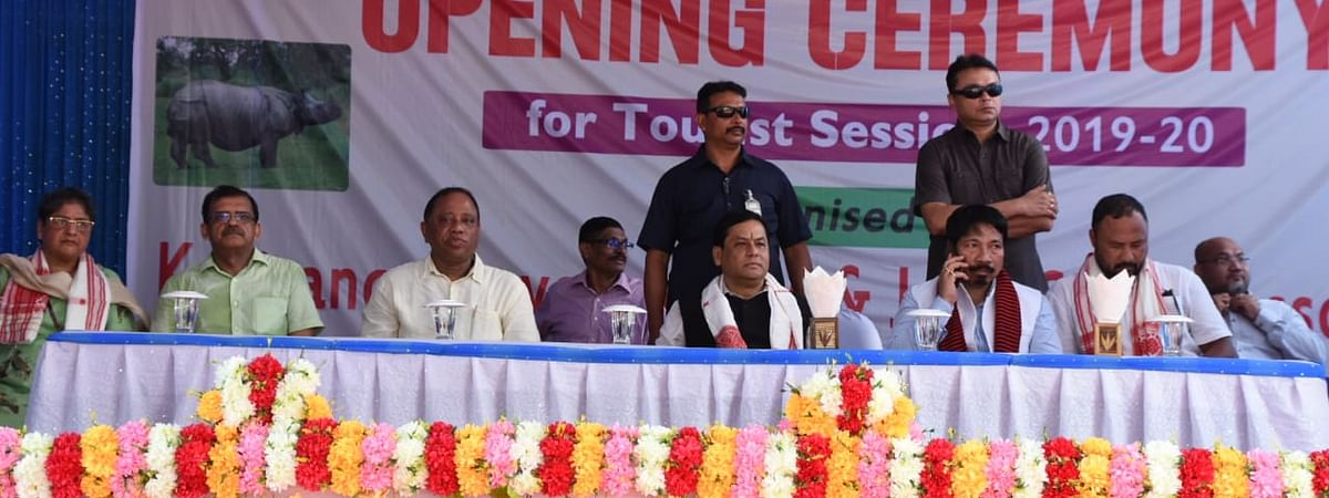 Assam chief minister Sarbananda Sonowal along with other officials during the opening ceremony of the new tourist season at Kaziranga National Park