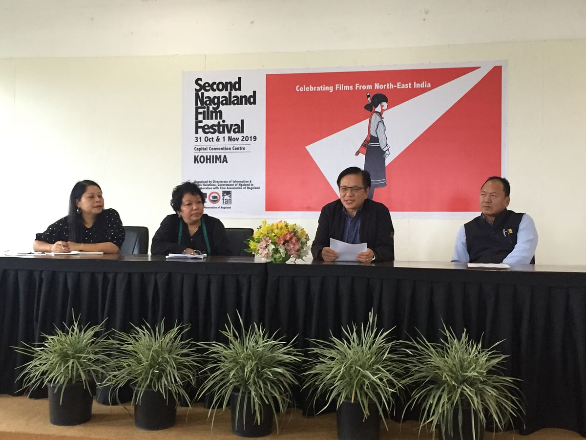 (From left) Festival director  Yapangnaro Longkumer, FAN President Kivini Shohe, Director DIPR Limawati Ao and Additional Director Tokishe Sema addressing a press conference in Kohima