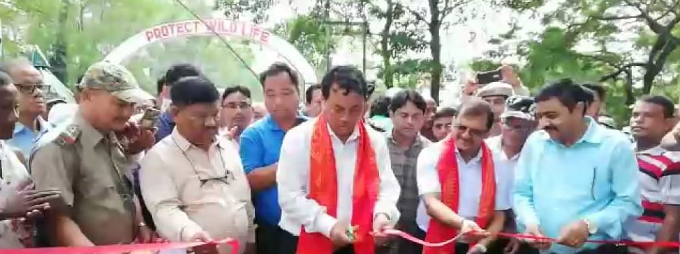 Bodoland Territorial Council deputy chief Kampa Borgoyary reopening the Manas National Park in Assam on Friday